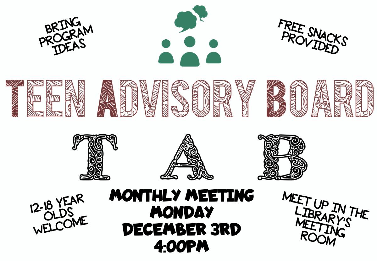 Teen Advisory Board Meeting – 4pm